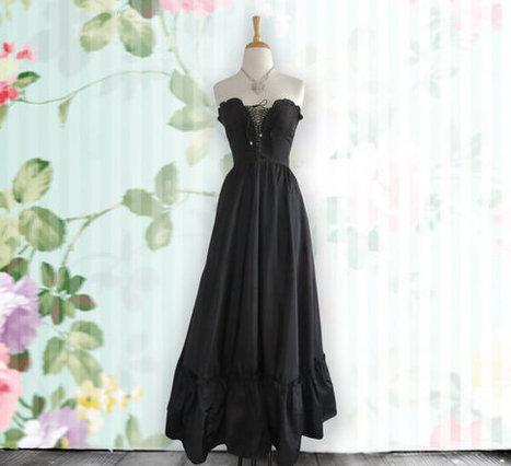Vintage black corset layered dress-gothic - steampunk, Strapless dress | DustyDesert vintage | Scoop.it