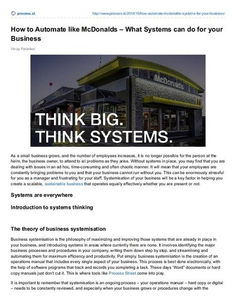 How to Automate like McDonalds | Business Process Management | Scoop.it