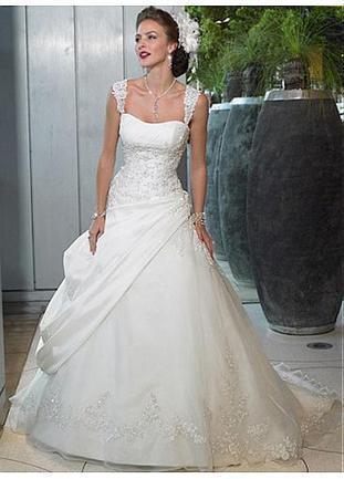 [205.59] Beautiful Elegant Exquisite Taffeta & Organza A-line Beaded Appliques Wedding Dress In Great Handwork - Dressilyme.com | Wedding dresses | Scoop.it