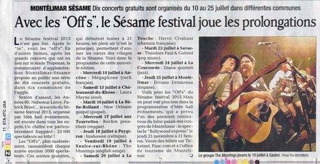 Sésame Festival ! Article du 9 juillet du Dauphiné Libéré | Montélimar Agglo Festival 2014 | Scoop.it