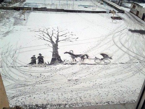 Russian School Groundskeeper Creates Amazing Snow Art with His Shovel #art #snow | Luby Art | Scoop.it