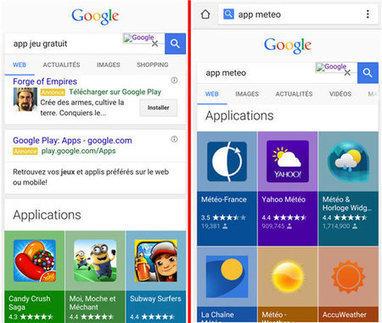Les apps prennent encore plus de place dans les résultats de Google | Référencement | Scoop.it