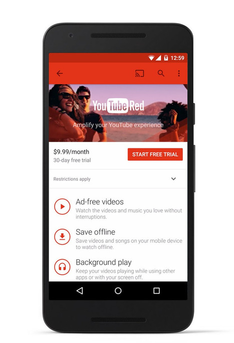 YouTube Red: Ad-free music and original videos rolled into $9.99 package/month | digital mentalist  and cool innovations | Scoop.it
