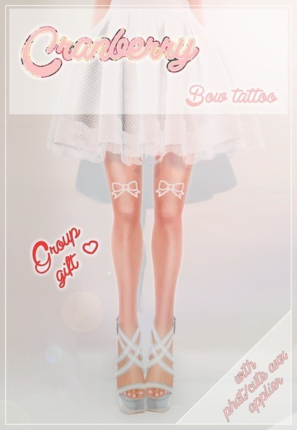 mscranberriessl:<br/><br/>* Cranberry * - bow tattoo black/white Group... | Finding SL Freebies | Scoop.it