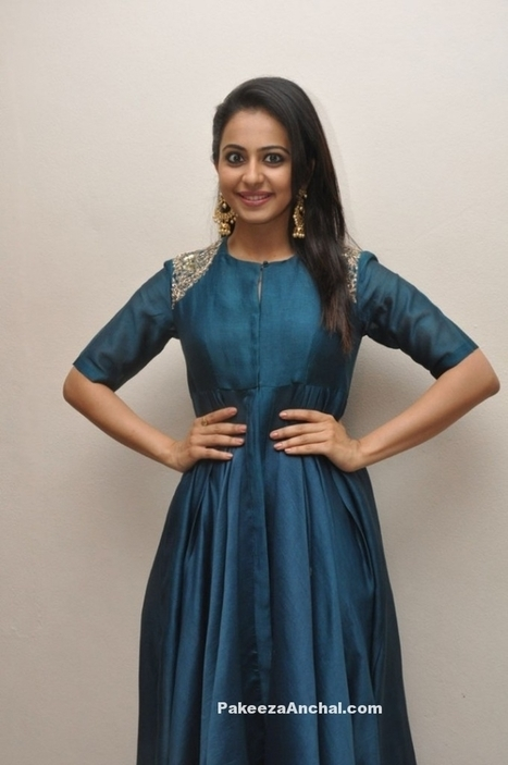 Rakul Preet Singh in Blue High Low embroidered Kurti by Jayanti Reddy | Indian Fashion Updates | Scoop.it