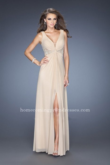 Nude La Femme 20142 Two Shoulder Deep V Neck Long Prom Dresses For Women [LF-20142] - $182.00 : Prom Dresses | Homecoming Dresses | girlsdresseshop | Scoop.it