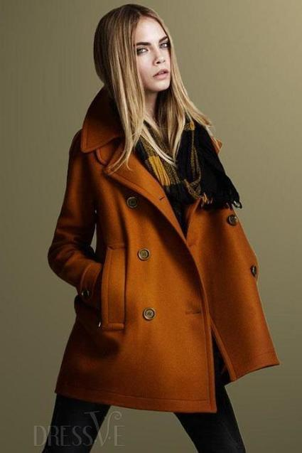 Orange/Black Europe Style Double-breasted Woolen Fancy Thicken Overcoat | fashion clothes | Scoop.it