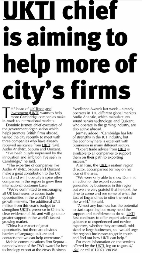 UKTI chief is aiming to help more of city's firms - Cambridge News, 23/3/15 | UK Trade & Investment media coverage | Scoop.it