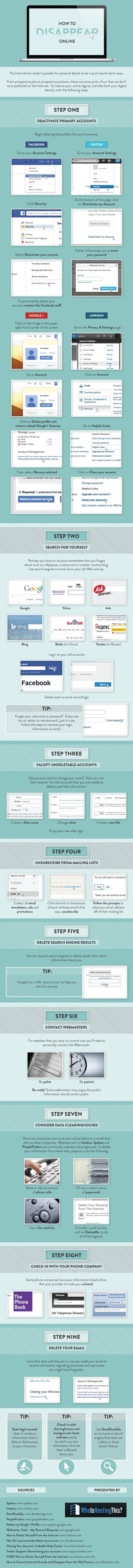 How to Disappear Online in 9 Steps [Infographic] | Social Media Strategies | Scoop.it