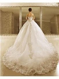 $ 396.99 Luxurious Ball Gown Strapless Beads Cathedral Train L ace-up Wedding Dress   Fashion women   Scoop.it
