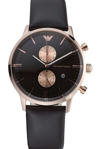 Replica Emporio Armani Classic Chronograph Black Dial Rose Gold Case Black Leather Bracelet-$199.00 | Men's & Women's Replica Watches Collection Online | Scoop.it