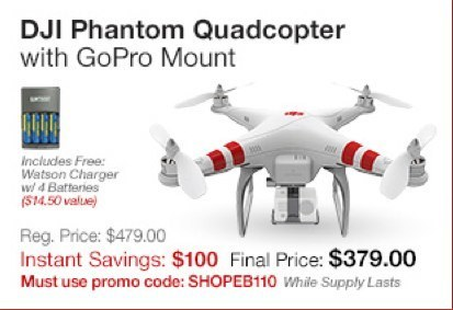 DJI Phantom Quadcopter with GoPro Mount $100 off with $14.50 in free extras