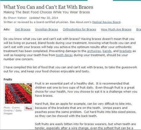What Your Orthodontist in Indianapolis Should Say: On Food and Braces   M.A. Vorhies Orthodontist   Scoop.it