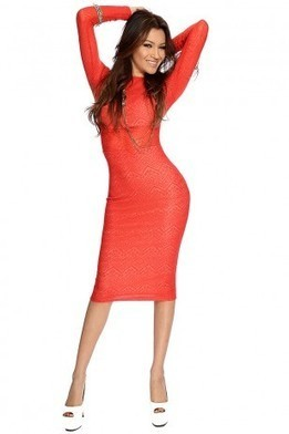 Red Orange Sexy Bodycon Midi Dress   The Season's Hottest Styles from Pink Basis   Scoop.it