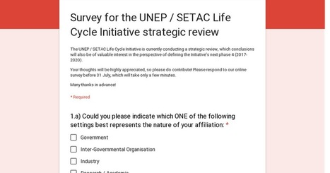 Survey for the UNEP / SETAC Life Cycle Initiative strategic review | Eco-conception et ACV | Scoop.it