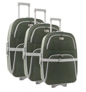 Lot de 3 valises-chariots 3 roues POLYESTER 600D - Kaki   comptoirdubagage   Scoop.it