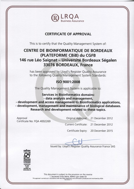 The CBiB Quality Management System is approved - ISO 9001:2008 | CBiB - Bordeaux Bioinformatics Center | Scoop.it