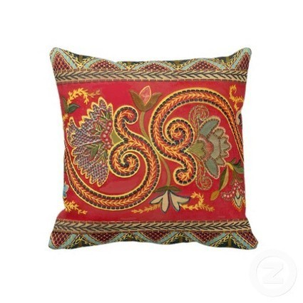 Faux Crewel Embroidery Throw Pillow – Elegant Pattern from Vintage Illustration | Antique Images | Designs by ANTIQUE IMAGES | Scoop.it