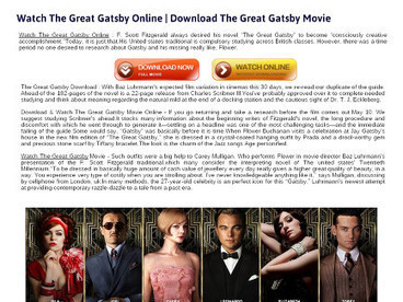 Watch The Great Gatsby Online - Full Movie in 3D | Watch The Great Gatsby Movie Online | Scoop.it