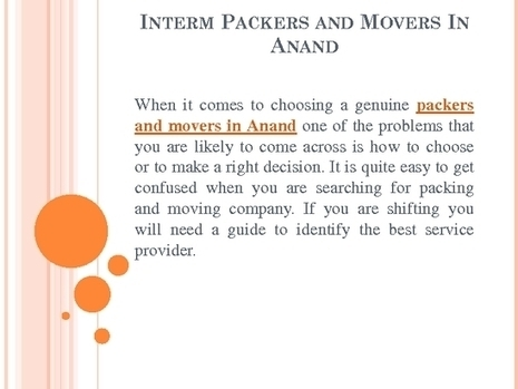 Cost effective packers and movers services in Anand | Interm Packers And Movers | Scoop.it