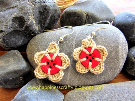 Happiness Crafty: Crochet Button Earrings ~ Free Pattern | Needle and Hook Patterns-all free | Scoop.it