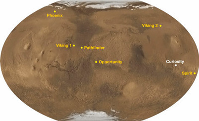 Map showing where Curiosity will land on Mars | VIM | Scoop.it