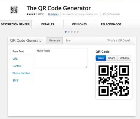 QR Generador de códigos. | Infografía. Google Chrome y sus extensiones en la Educación | Scoop.it