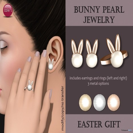 Bunny Pearl Jewelry Set Easter Gift By Izzie's   Teleport Hub - Second Life Freebies   Second Life Freebies   Scoop.it