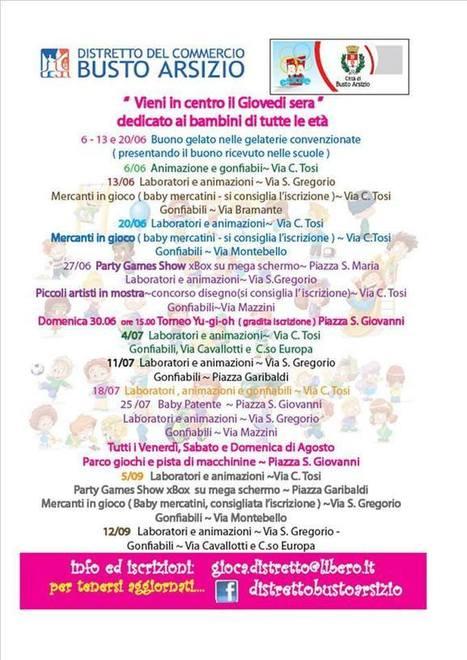 """Varese: """"Vieni in centro il Giovedì sera"""" da giovedì 6 giugno, dedicato ai bambini di tutte le età a Busto Arsizio   DoWeekEnd   Scoop.it"""