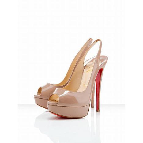 Nude Christian Louboutin Lady Peep Sling 150mm Slingbacks Red Sole Shoes | share list | Scoop.it