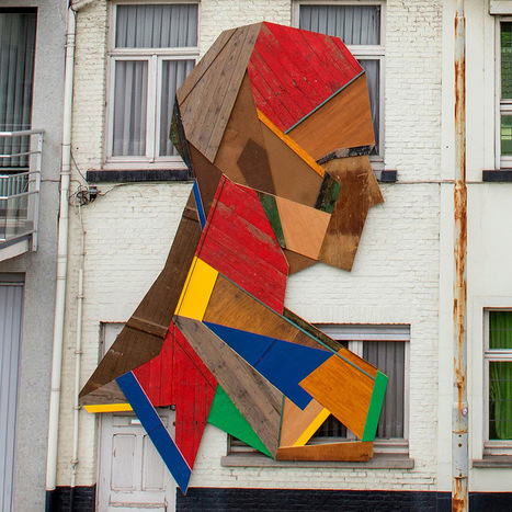 Repurposed Wood Doors and Furniture Transformed into Geometric Faces on the Streets of Belgium | Communication design | Scoop.it