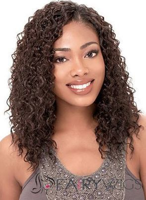 Hand Knitted Medium Curly Brown No Bang African American Lace Wigs for Women 16 Inch : fairywigs.com | Human Hair Wigs | Scoop.it