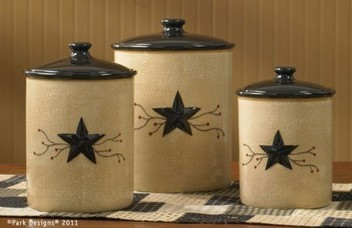 Star Vine Ceramic Canister Set of 3 by Park Designs - Country Kitchen | Country Home Design Ideas | Scoop.it