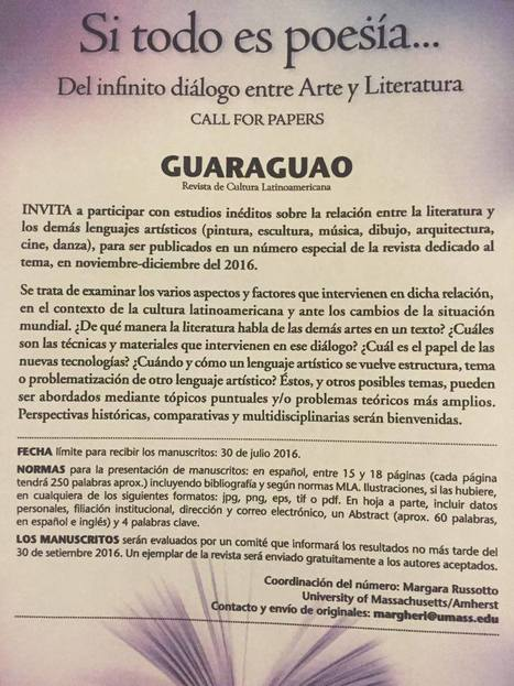 Call For Papers: GUARAGUAO                   Revista de Cultura Latinoamericana | The UMass Amherst Spanish & Portuguese Program Newsletter | Scoop.it