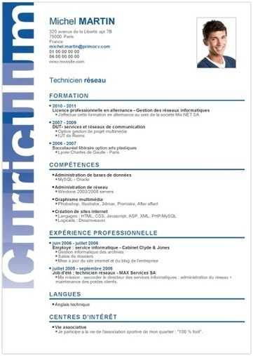 Resume format mod le cv job t for Job sur internet remunere
