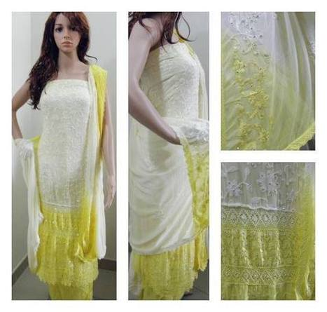 Yellow and white Heavily embroided Viscose Suit | Trendz Design | Scoop.it