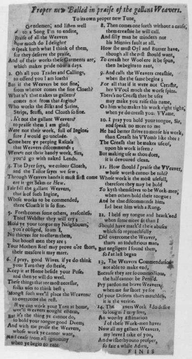 Broadside ballad entitled 'In Praise of the Gallant Weavers' | British Genealogy | Scoop.it