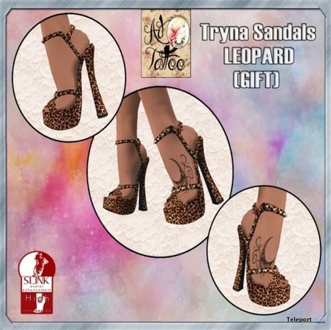 Tryna Sandals Leopard For Slink High Feet Group Gift by Art Tattoo | Teleport Hub - Second Life Freebies | Second Life Freebies | Scoop.it
