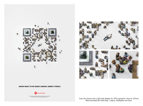 "QR code humain pour la ""Dutch Heart Foundation"" 