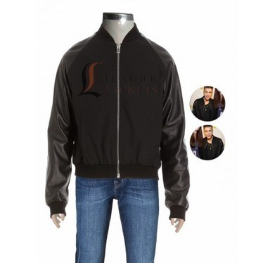 Black Bomber Wool Jacket with Leather Sleeves | Unique collection of celebrity jackets its now | Scoop.it