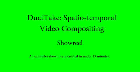 Must Know DuctTake: Spatiotemporal Video Compositing, by Disney Research & Eurographics (PDF + 3 Videos) | Filmmaking | Scoop.it