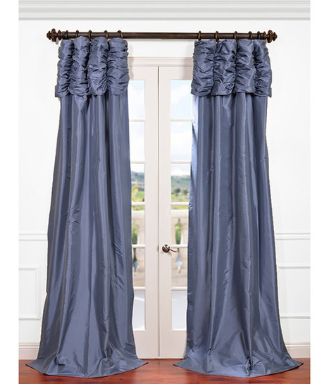 Wisteria Blue Ruched Faux Solid Taffeta Curtain | window curtains | Scoop.it