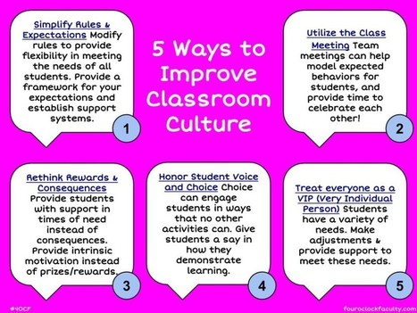 5 Ways to Improve Classroom Culture | Banco de Aulas | Scoop.it