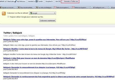 Deux bookmarklets pour créer des flux RSS sur Twitter | Time to Learn | Scoop.it