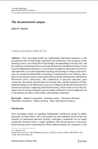 Journal of Computing in Higher Education | The deconstructed campus | Educación flexible y abierta | Scoop.it