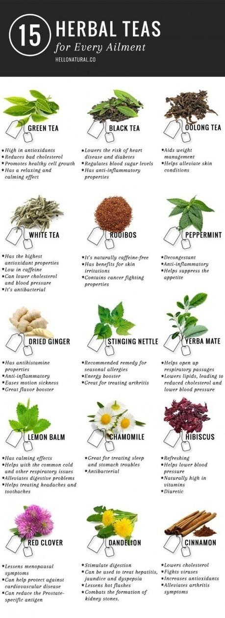 Health Benefits of 15 Teas #Infographic | Green Living | Scoop.it