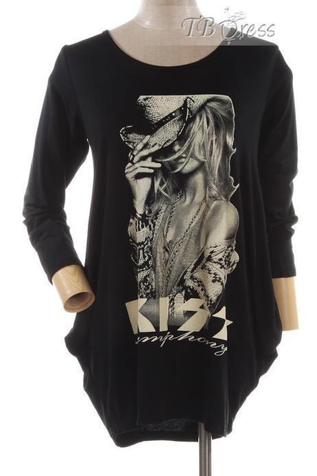 $ 27.49 TBdress Design Fabulous Black Round Neckline Long Sleeves Print T-Shirt | peaceful lady | Scoop.it
