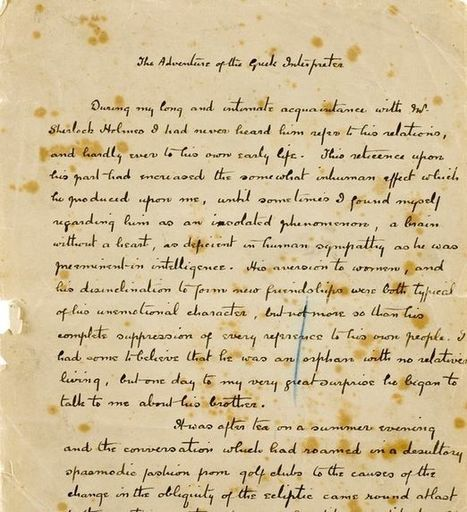 Handwritten page from Sherlock Holmes story to fetch up to £110,000 at auction | All Things Bookish: All about books, all the time | Scoop.it
