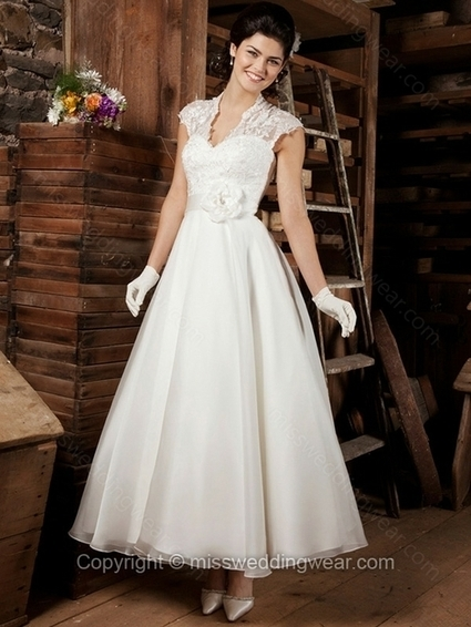 A-line V-neck Organza Ankle-length White Flowers Wedding Dresses   2014 wedding dress online   Scoop.it