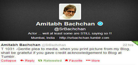 Amitabh Bachchan shall be grateful if media give credit to his blog | Satyagraha | Scoop.it